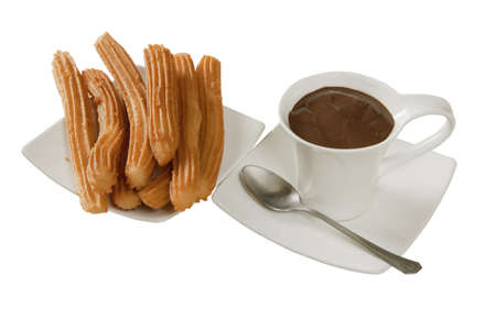 in white chocolate with churros Stock Photo