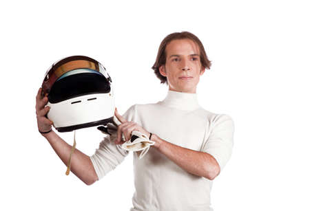 teaching young pilot helmet photo