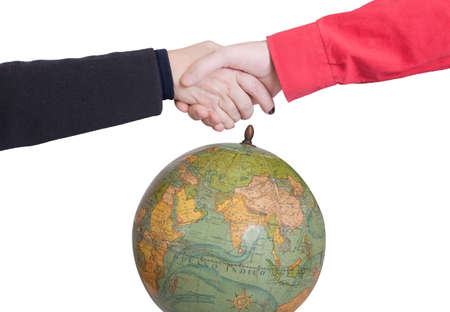 closer: tapering hands to the world Stock Photo