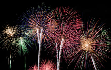 different fireworks explosion Stock Photo