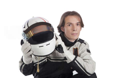 motor race: young driver with his helmet Stockfoto