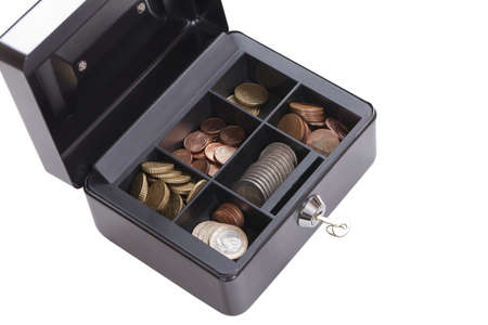 small safe with coins and euro cents on isolated white background  photo
