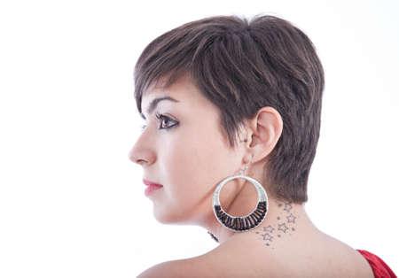 beautiful neck: tattoo stars on a womans neck
