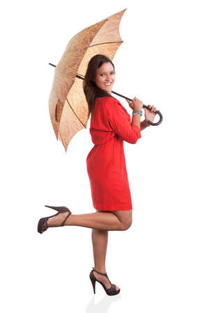 woman with umbrella: Woman in Red with umbrella