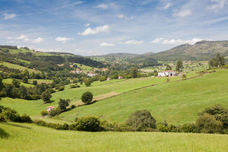 cantabria: green pastures in the mountains of Cantabria in northern Spain