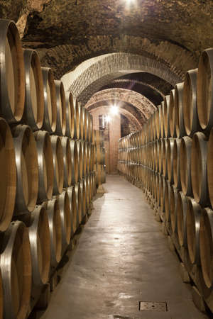 ferment: Valladolid, Spain, July 9th, 2011. Interior of old cellar vaults of brick, the Ribera del Duero, with wine barrels stacked