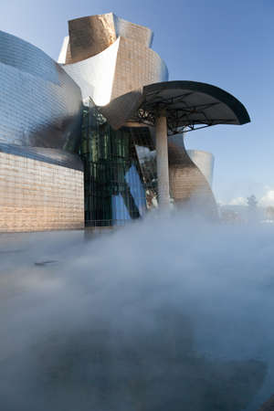 Bilbao, Spain, December 24, 2011. View of the rear of the Museum of Contemporary Art, Guggenheim, the Canadian architect, Frank O. Gehry, with steam being ejected from the artificial lake. No people