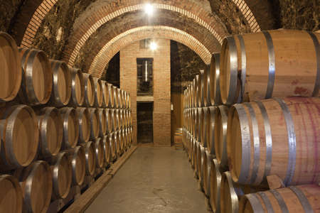 Barrels of wine in cellar Stock Photo
