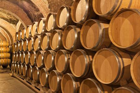 Valladolid, Spain April 30, 2012. Barrels of wine in a winery in Ribera del Duero in Penafiel, Valladolid