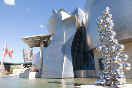 Bilbao, Spain - June 15, 2012: Exterior and detail of the forms of the Guggenheim Museum. The Guggenheim is a museum of modern and contemporary art designed by Canadian architect Frank Gehry-American  Editorial