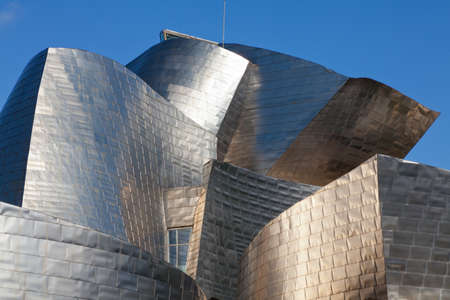 Bilbao, Spain - June 16, 2012: Detail of the titanium plates of the Guggenheim Museum Bilbao, a museum of modern and contemporary art designed by Canadian architect Frank Gehry-American in 1997, located in Bilbao, Basque Country, Spain.