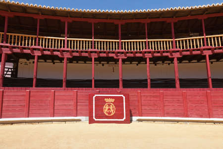 zamora: Bullring of Toro in Zamora, Spain, with the shield of the city