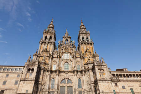 Main façade of the Cathedral of Santiago de Compostela in Spain photo