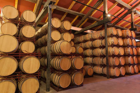 Casks old red wine in a cellar