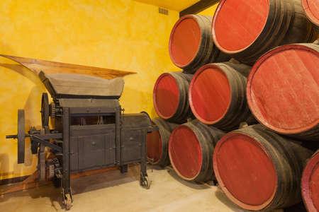 casks: Casks old red wine in a cellar