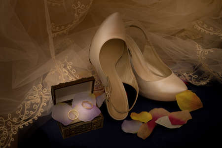lady diana: wedding accessories, surrounded by the veil of the bride