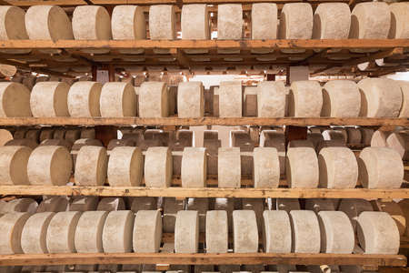 healing process: Artisan cheeses sheep em healing process Stock Photo