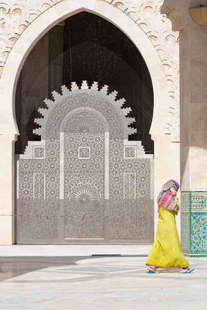 craft on marble: Door of the Mosque of Hassan II in Casablanca, Morocco. Stock Photo