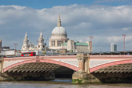 blackfriars bridge: London, United Kingdom - May 14, 2016:  St. Pauls Cathedral and Blackfriars Bridge in London
