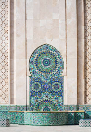 singular architecture: Fountain with mosaics artisans in the Mosque of Hassan II in Casablanca, Morocco Stock Photo