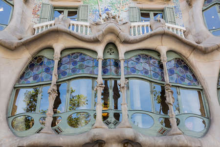 singular architecture: Barcelona, Spain - August 12, 2016; facade of the Casa Batllo, designed by the architect Gaudí