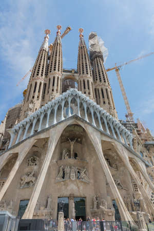 singular architecture: Barcelona, Spain - August 10, 2016; Facade of the Passion of Basícia of the Sagrada Familia in Barcelona Editorial