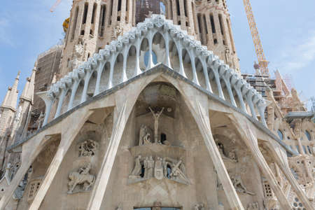 CIA: Barcelona, Spain - August 10, 2016; Facade of the Passion of Basícia of the Sagrada Familia in Barcelona Editorial