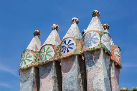 Barcelona, ??Spain - August 12, 2016; Fireplaces With tiles of Casa Batllo, designed by the architect GaudÃÂ