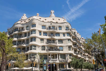 singular architecture: Barcelona, Spain - August 12, 2016; Edificio La Pedrera, designed by the architect Gaudi in Barcelona, Spain Editorial