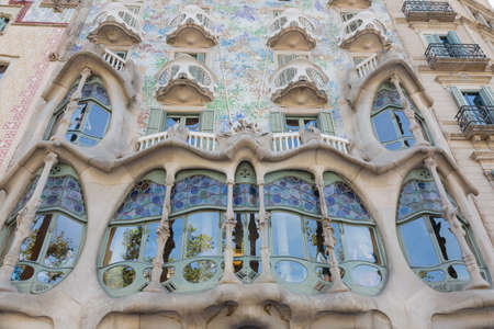 singular architecture: Barcelona, Spain - August 12, 2016, facade of the Casa Batllo, designed by the architect Gauda Editorial