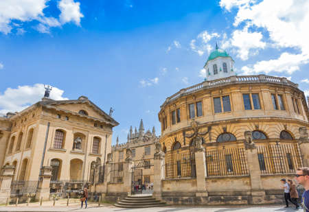 bookstores: Oxford, UK - May 15, 2016; Bodleian bookstores in Oxford, UK, with people around