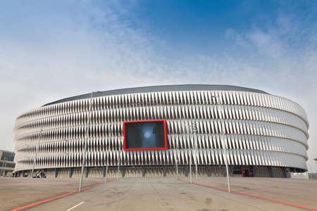 teaches: Bilbao, Spain - November 11, 2017. Main facade of the new football stadium of San Mama s Athletic Bilbao team with the giant screen