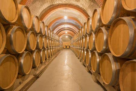 リベラ · デル · ドゥエロ、バリャドリッドの古いワイナリーでは、ワインの樽