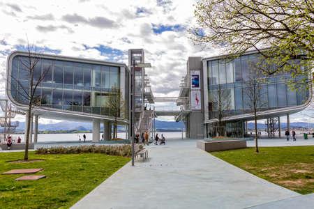 Santander, Spain - April 4, 2018; Botanic cultural center, located in the Bay of Santander, architect's work and Pritzker Renzo Piano award in Santander, Cantabria, Spain