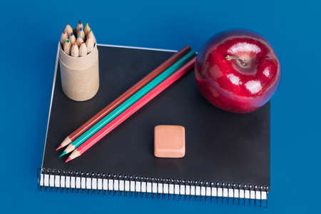 Material and snack for the return to school Stock Photo