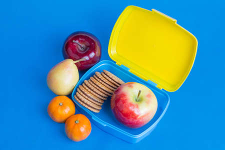 autumn fruits and cookies in a school snack