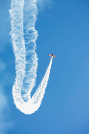 Tordesillas, Spain - September 23, 2018; Acrobatic patrol Jacob52 during an acrobatic exhibition in flight at Matilla aerodrome, in Tordesillas, Spain