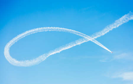 Acrobatic patrol Jacob52 during an acrobatic exhibition in flight at Matilla aerodrome, in Tordesillas, Spain