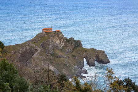 Islet of San Juan de Gaztelugatxe, linked to the coast of the Basque Country by a bridge with arches