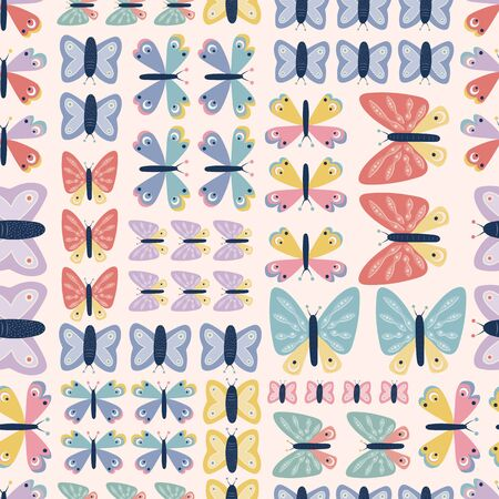 Geometric colorful butterfly seamless repeat vector pattern. Great for paper products, stationery, invitations, gifts, party, bedding, pyjamas, home ware