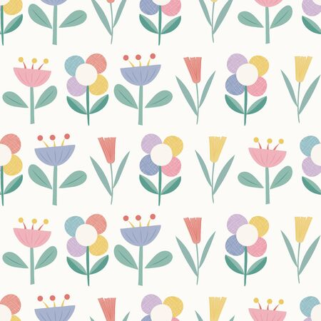 Geometric flowers seamless repeat vector pattern. Perfect for stationery, paper goods, home ware, gifts, childrens products.