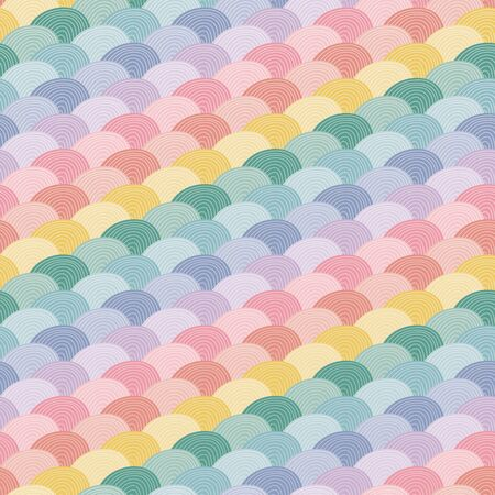 Rainbow geometric seamless repeat vector pattern background. Great for stationery, gifts, childrens products, bedding, homeware Stock Illustratie