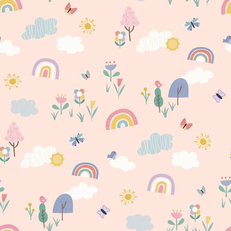 Fun colourful summer weather seamless repeat vector pattern. Childrens products, pyjamas, stationery, bedding, gifts