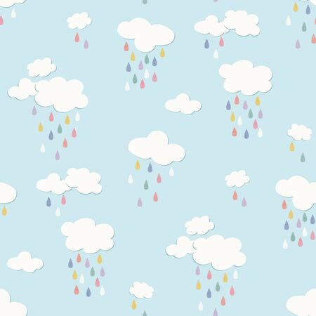 Rainbow clouds with raindrops vector repeat seamless pattern. Would be great for bedding, childrens products, stationery, gifts