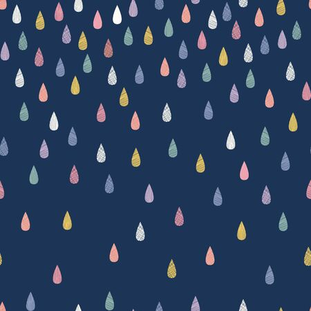 Navy graduated rainbow raindrops vector seamless repeat pattern. Perfect for childrens products, stationery, gifts, bedding, backgrounds. Stock Illustratie