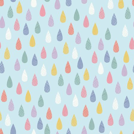 Rainbow raindrops vector seamless pattern. Perfect for childrens products, stationery, bedding, backgrounds.