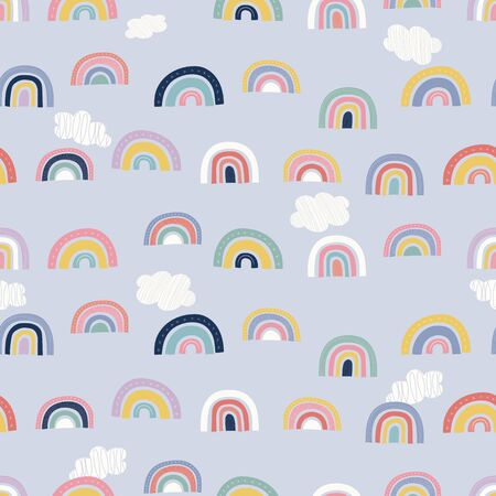 Rainbow seamless repeat vector pattern. Great for childrens products, bedding, sleepwear, stationery, gifts