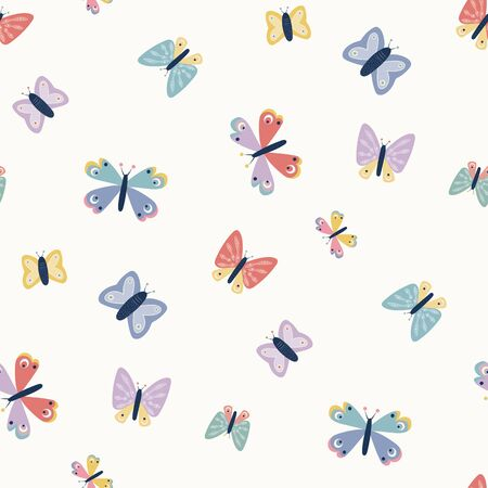 Scattered butterfly seamless repeat vector pattern. Great for paper products and stationery such as invitations, notebooks and party items. Would be great for gift and home ware products such as bedding as well as childrens clothing. Surface pattern design.