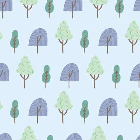 Blue green trees seamless repeat vector pattern. Great for paper products and stationery such as invitations, notebooks and party items. Would be great for gift and home ware products such as bedding as well as childrens clothing. Surface Pattern Design. Illustration