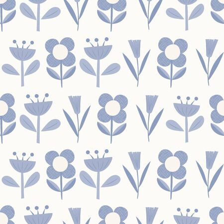 Blue geometric flowers seamless repeat vector pattern. Great for paper products and stationery such as invitations, notebooks and party items. Would be great for gift and home ware products such as bedding as well as childrens clothing. Surface pattern design. Illustration